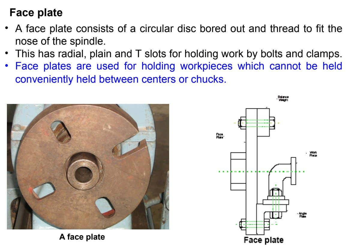Face plate • A face plate consists of a circular disc bored out and thread to