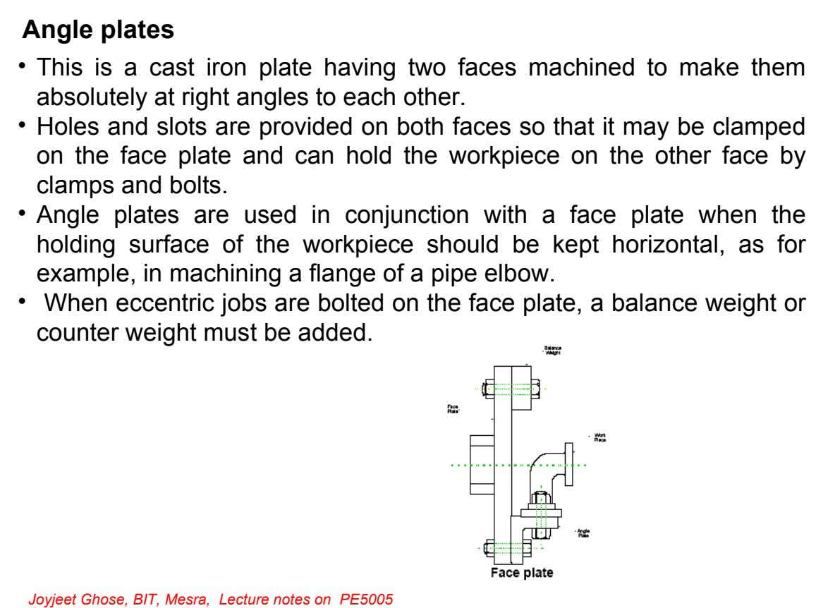 Angle plates • This is a cast iron plate having two faces machined to make them