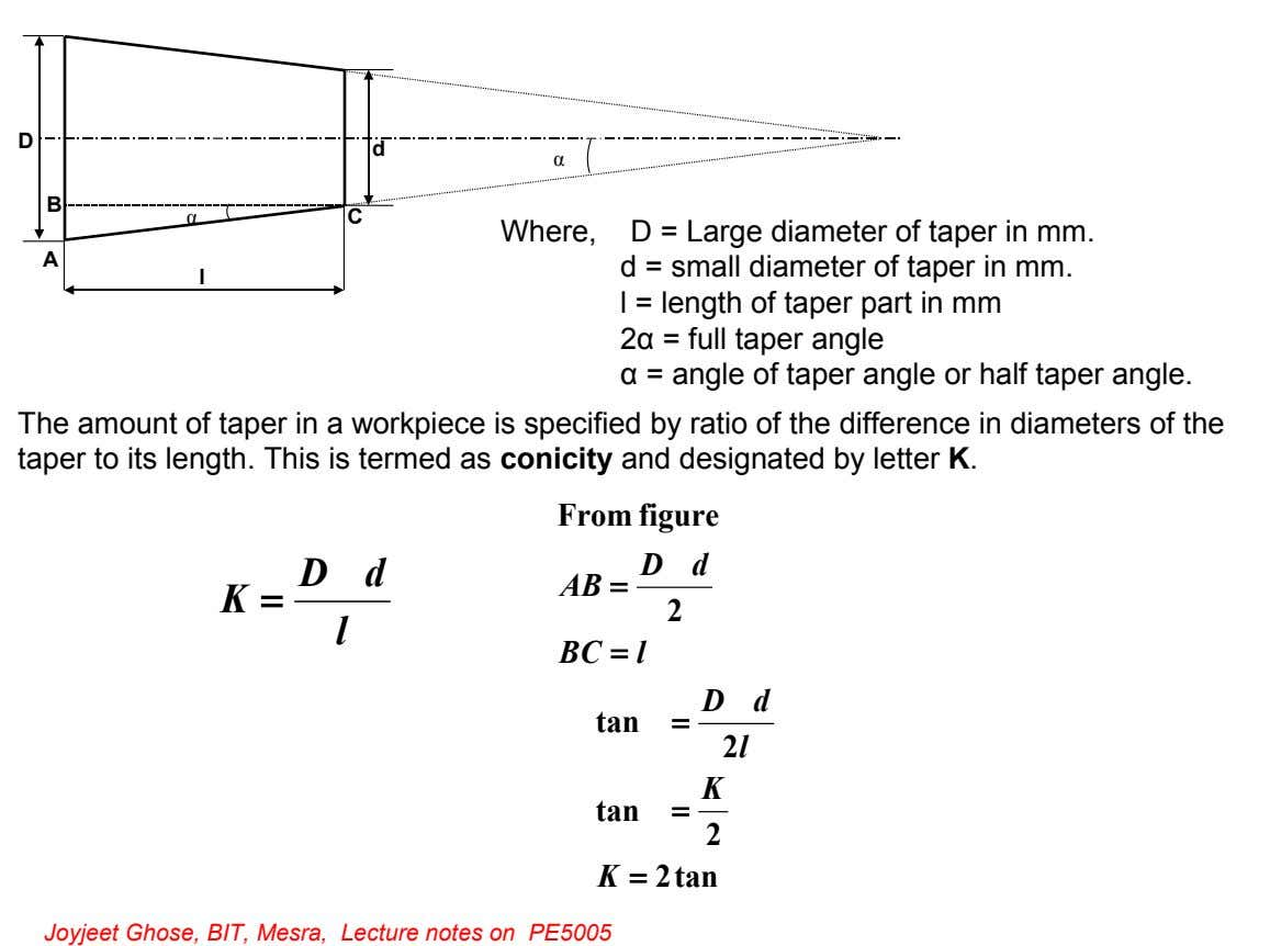 D d α B α C Where, D = Large diameter of taper in mm. A