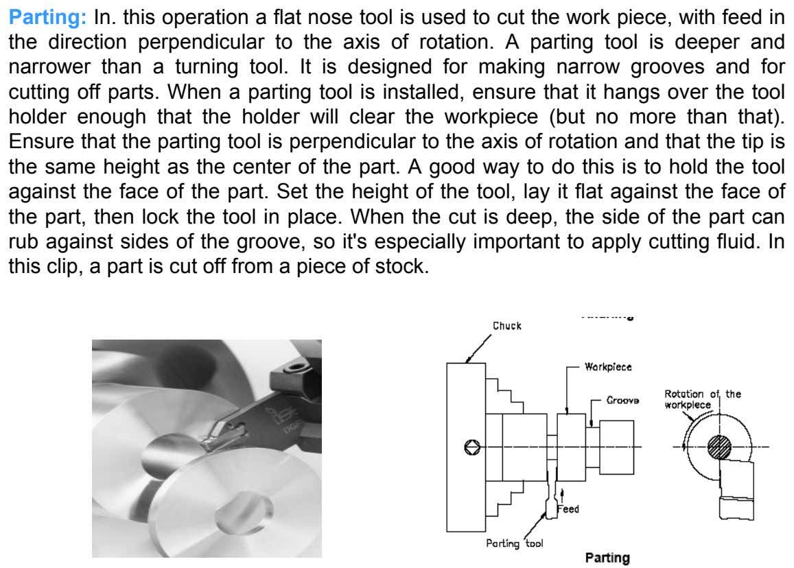 Parting: In. this operation a flat nose tool is used to cut the work piece, with