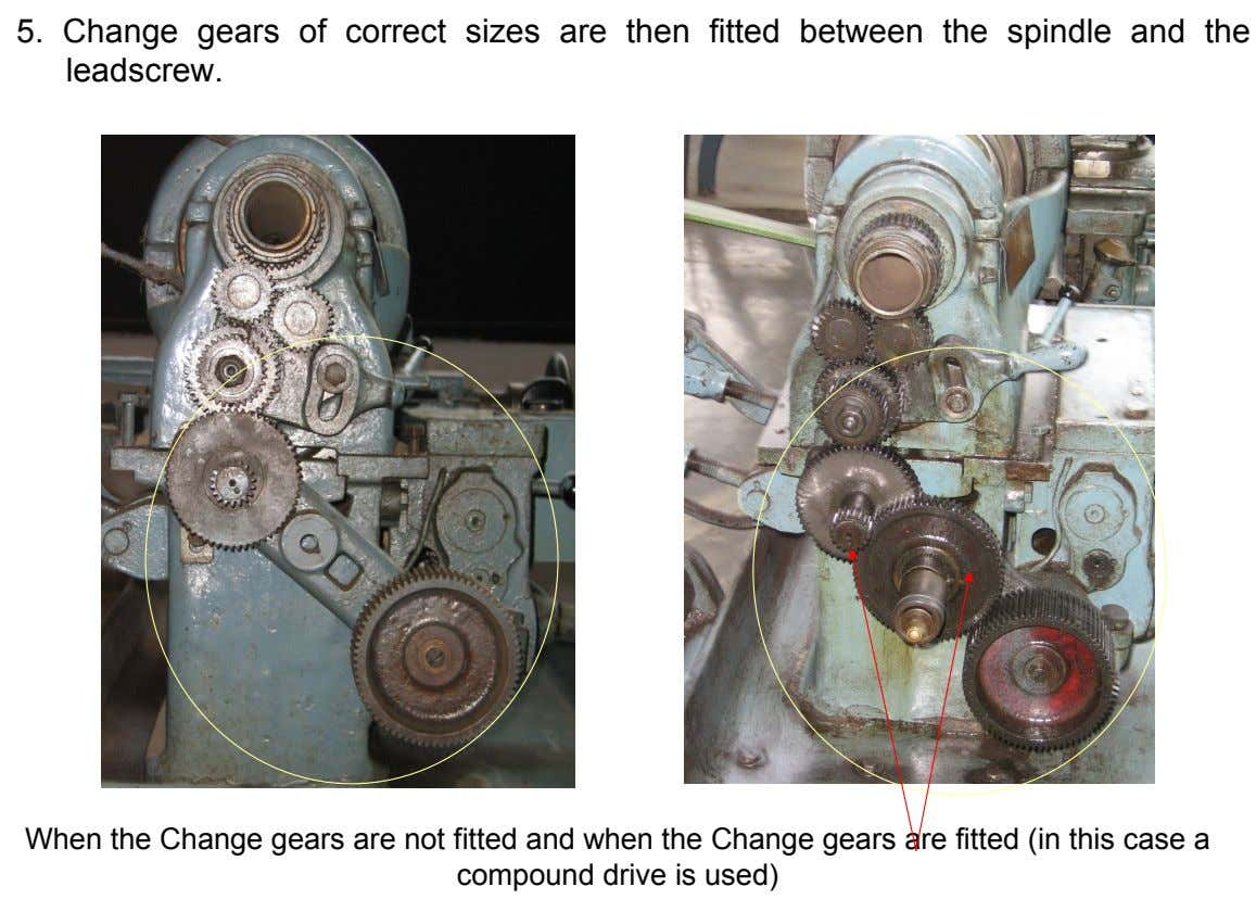 5. Change gears leadscrew. of correct sizes are then fitted between the spindle and the When