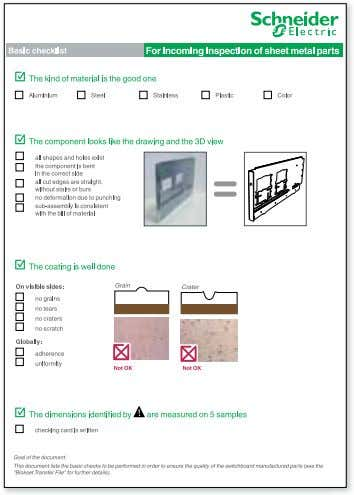 "storage and preparation of components: incoming inspection Example: ""Basic checklist"" page 58   Réception"
