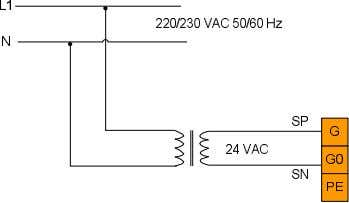 ± 20 % or 24 VDC ± 10 % via plug-in terminals G and G0 3.4
