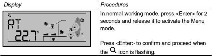 Display Procedures In normal working mode, press <Enter> for 2 seconds and release it to