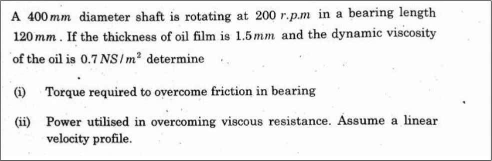 P ROBLEMS RELATED TO VISCOSITY L dy Sleeve 33 oil D Shaft N