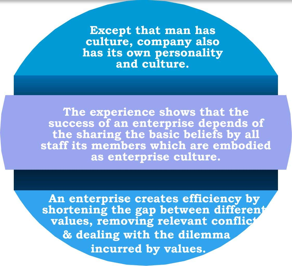 Except that man has culture, company also has its own personality and culture. The experience