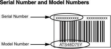 Serial Number and Model Numbers Serial Number xxxxxxxxxxx xxxxxxxxxx Model Number ATS48D75Y