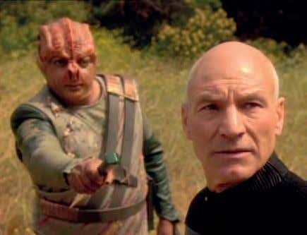 In 'Darmok', an episode of Star Trek: The Next Generation, Captain Jean-Luc Picard is faced