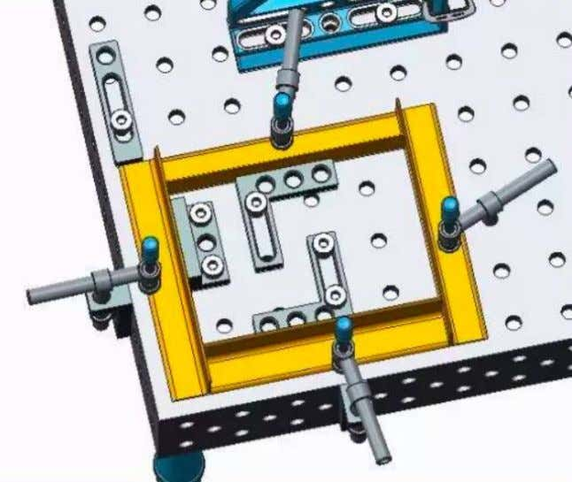 bore holes and the oblong slot. A wide range of stopping and clamping possibilities result from