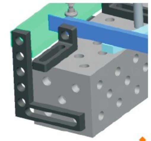 combination of system bore holes and oblong slot. The flat angle bar is freely adjustable over