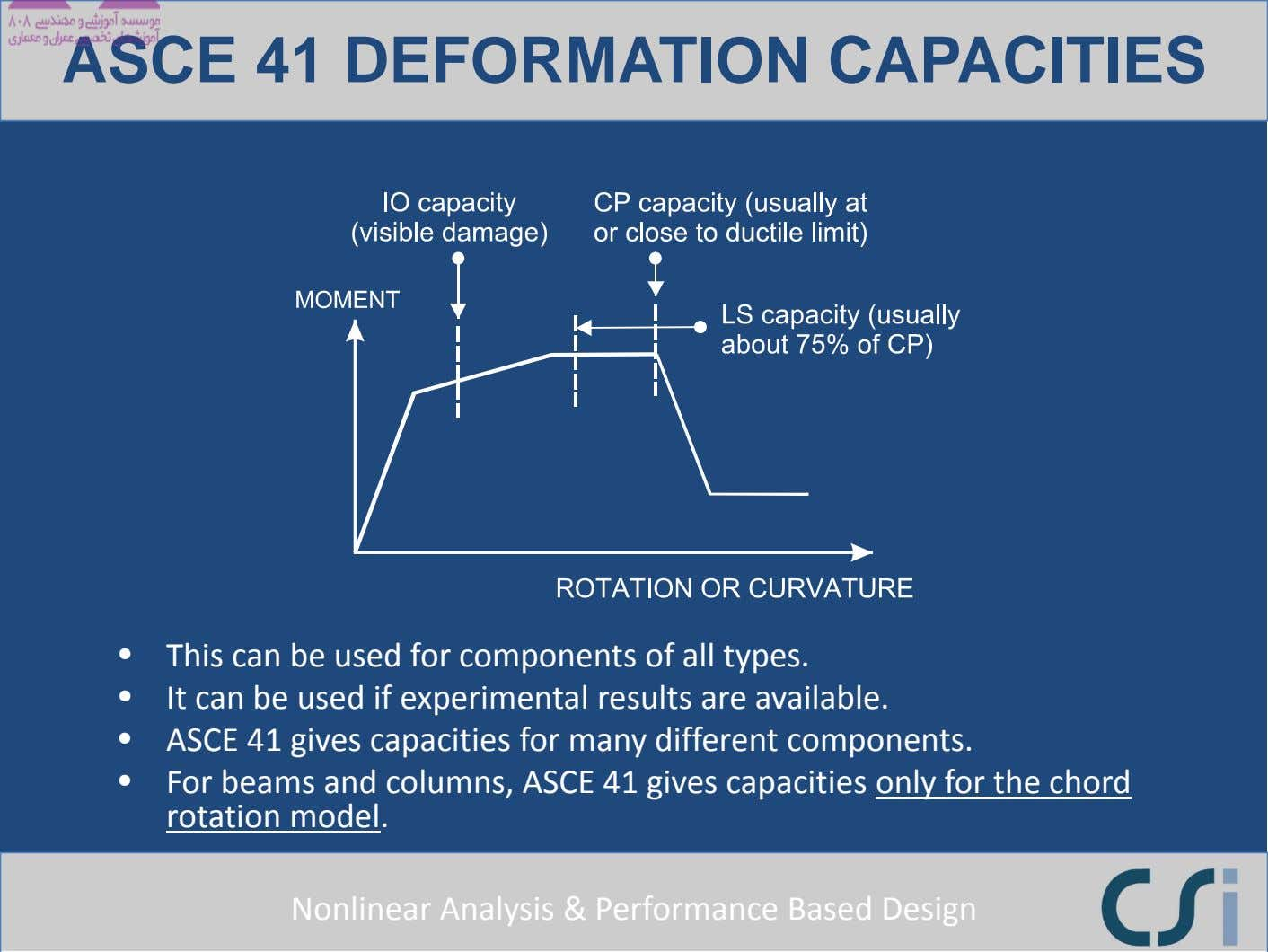 ASCE 41 DEFORMATION CAPACITIES • This can be used for components of all types. •