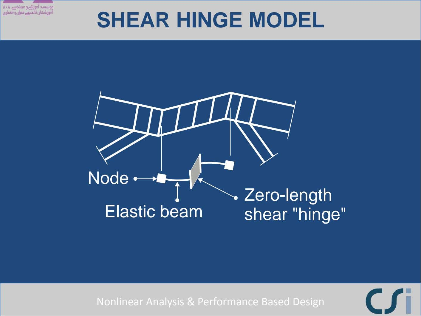 "SHEAR HINGE MODEL Node Elastic beam Zero-length shear ""hinge"" Nonlinear Analysis & Performance Based"