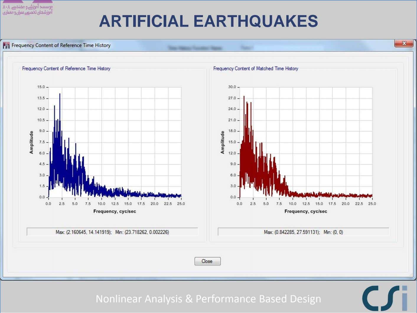 ARTIFICIAL EARTHQUAKES Nonlinear Analysis & Performance Based Design