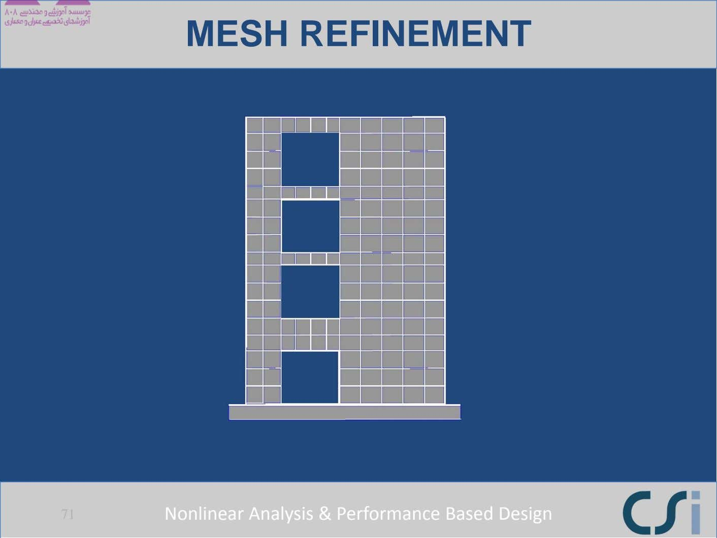 MESH REFINEMENT 71 Nonlinear Analysis & Performance Based Design