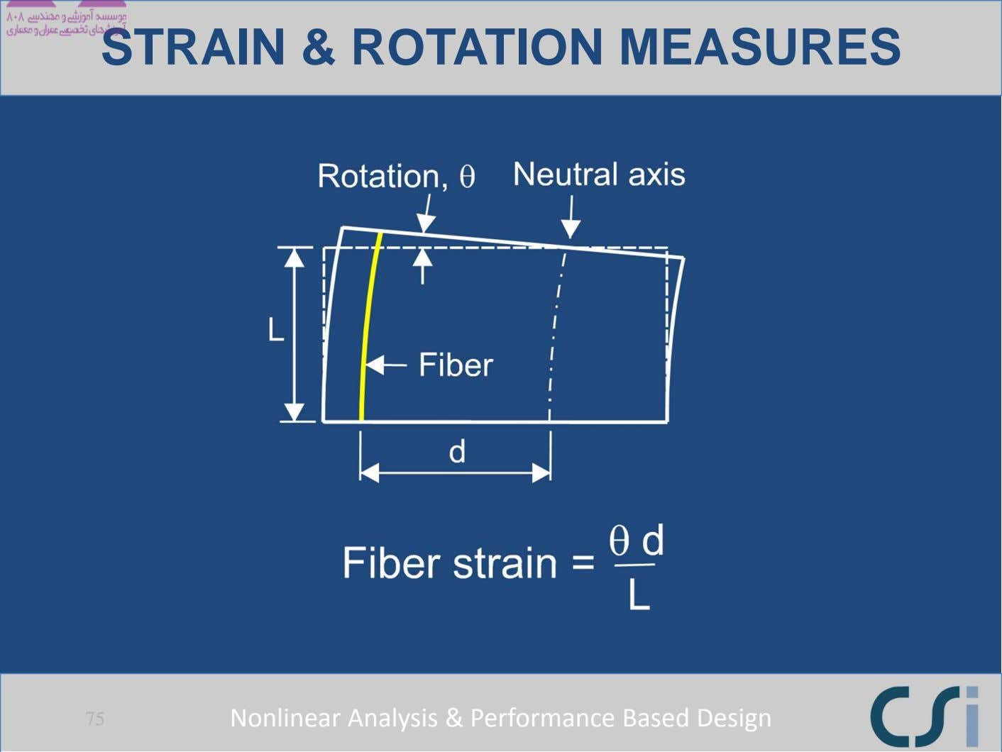 STRAIN & ROTATION MEASURES 75 Nonlinear Analysis & Performance Based Design