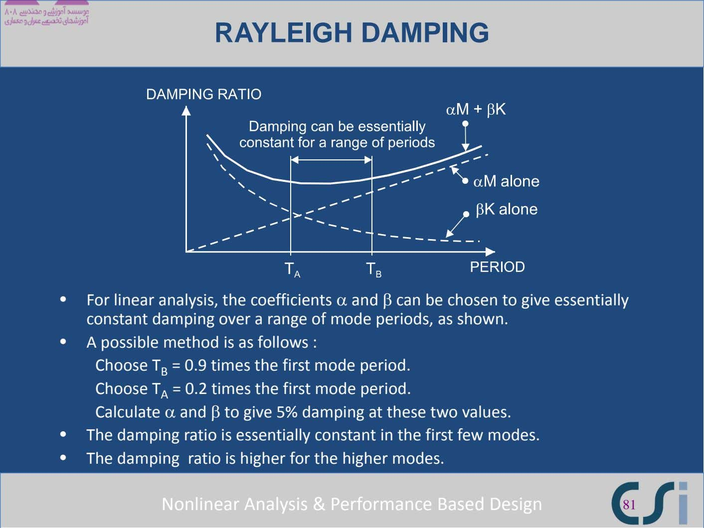 RAYLEIGH DAMPING • For linear analysis, the coefficients α and β can be chosen to