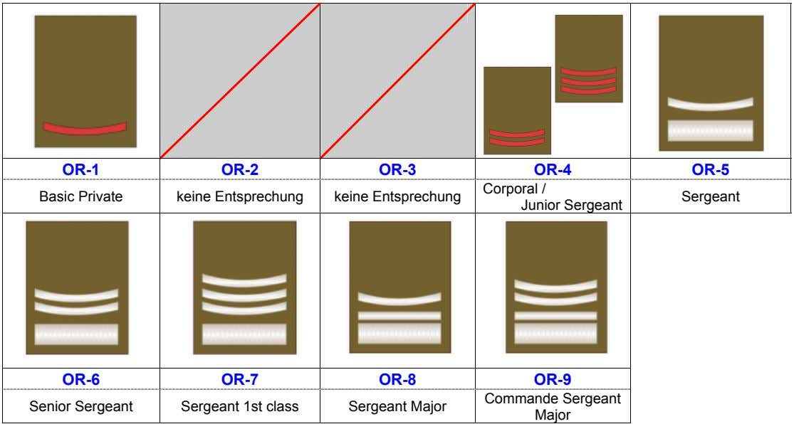OR-1 OR-2 OR-3 OR-4 OR-5 Basic Private keine Entsprechung keine Entsprechung Corporal / Junior Sergeant