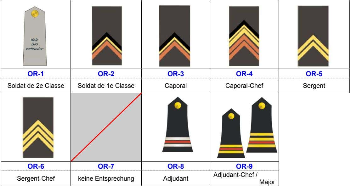 OR-1 OR-2 OR-3 OR-4 OR-5 Soldat de 2e Classe Soldat de 1e Classe Caporal Caporal-Chef