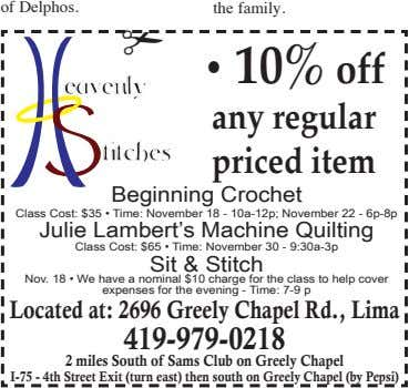 of Delphos. the family. ✃ • 10% off eavenly titches any regular priced item Beginning