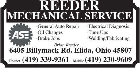 REEDER MECHANICAL SERVICE -General Auto Repair -Oil Changes -Brake Jobs -Electrical Diagnosis -Tune Ups