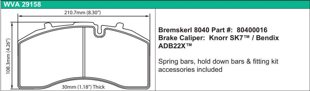 "WVA 29158 210.7mm (8.30"") Bremskerl 8040 Part #: 80400016 Brake Caliper: Knorr SK7™ / Bendix"
