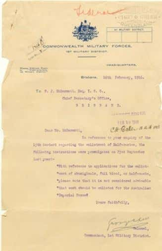 War service Correspondence concerning enlistment of men of Aboriginal descent in Imperial forces, 1916 stating: 'it