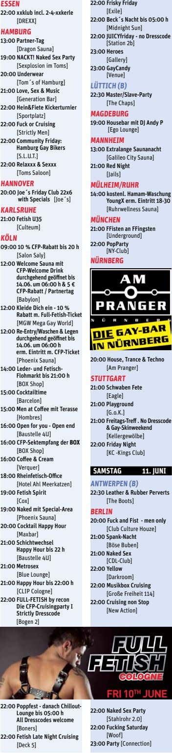 essen 22:00 xxklub incl. 2-4-xxkerle [DREXX] hAmburg 13:00 Partner-Tag [Dragon Sauna] 19:00 NACKT! Naked Sex