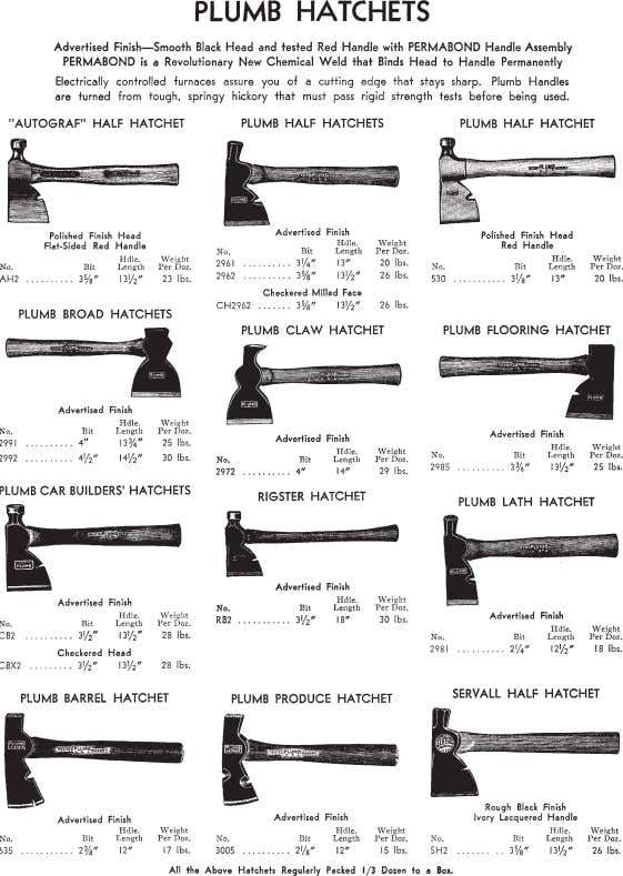 cabin work. Figure 20—An 18th-century mortising ax. Figure 21a—Some 20th-century Plumb hatchets and hand axes. iv