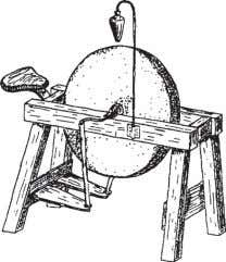 from old handle, spokeshave, coping saw, and wooden mallet. Figure 41—Cut off the old handle just