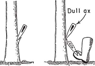 Using Axes Figure 74—A dull ax or one that is too blunt is more likely to