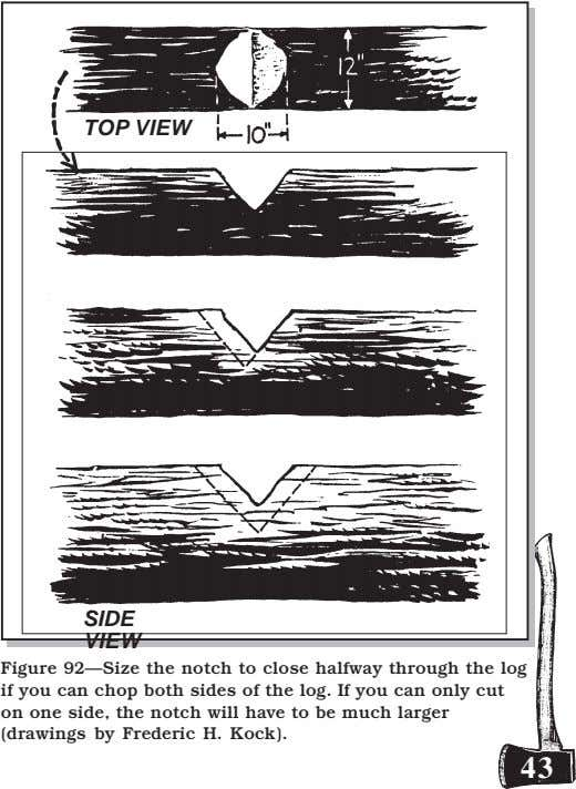 TOP VIEW SIDE VIEW Figure 92—Size the notch to close halfway through the log if
