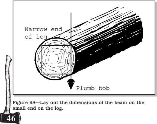 Narrow end of log Plumb bob Figure 98—Lay out the dimensions of the beam on