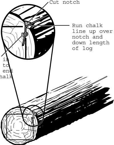 Cut notch Run chalk line up over notch and down length of log