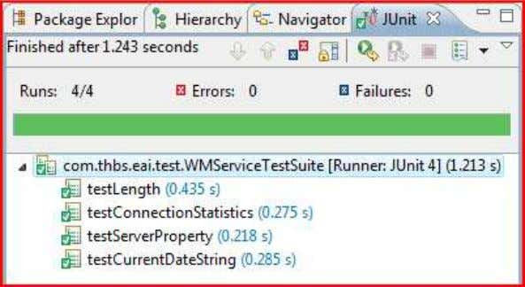 services using the wrapper, the results as shown below: The result of a JUnit test suite