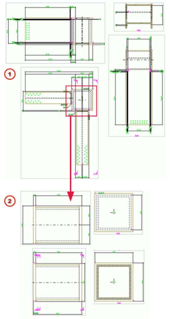 Assembly drawing of a nested assembly Assembly drawing of one of the sub- assemblies in
