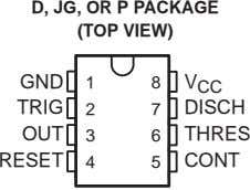 D, JG, OR P PACKAGE (TOP VIEW) GND 1 8 V CC TRIG 2 7