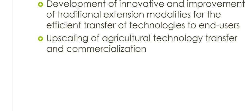  Development of innovative and improvement of traditional extension modalities for the efficient transfer of technologies