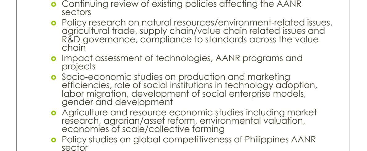  Continuing review of existing policies affecting the AANR sectors  Policy research on natural resources/environment-related