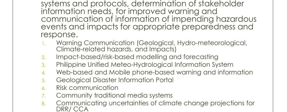systems and protocols, determination of stakeholder information needs, for improved warning and communication of information of