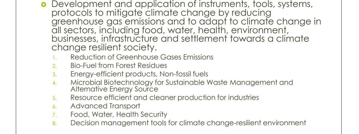  Development and application of instruments, tools, systems, protocols to mitigate climate change by reducing greenhouse