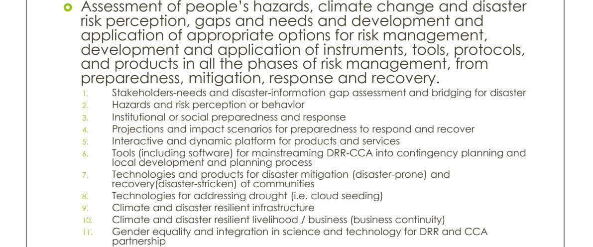  Assessment of people's hazards, climate change and disaster risk perception, gaps and needs and development