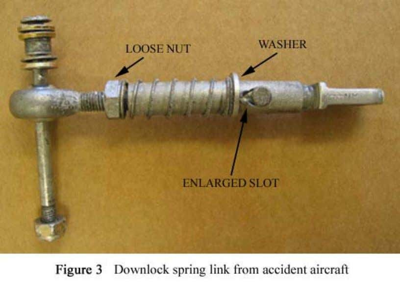 Figure 3: Downlock spring link from accident aircraft The drag link was examined at the AAIB