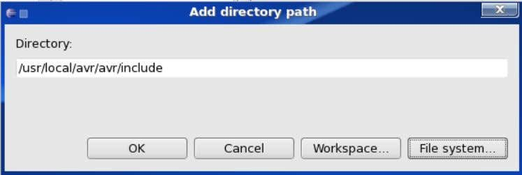 /usr/local/avr/avr/include as the directory this is shown in figure 2.3 and then click Ok . Figure