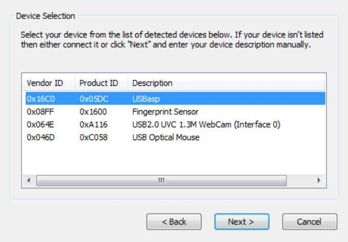 Next . Figure 2. 24 Select the USBasp programmer from the list of USB devices and