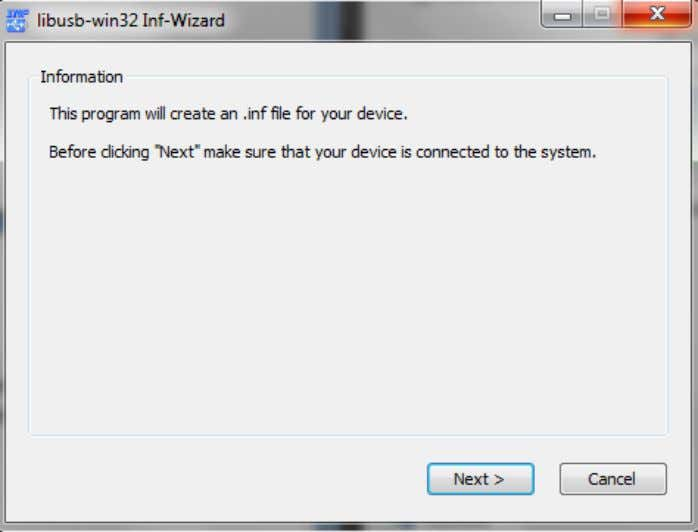 Inf-wizard will start, click Next . Figure 2. 24 Select the USBasp programmer from the list