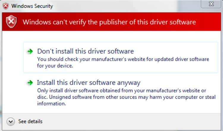 risks click Allow or Install this driver software anyway. The driver will now install. Figure 2.