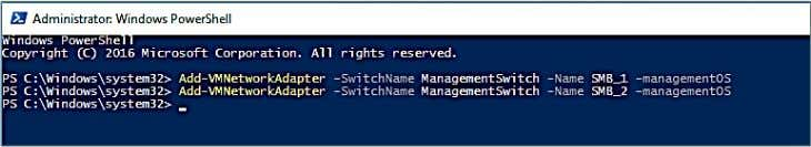 –SwitchName ManagementSwitch –Name SMB_2 –managementOS Figure 13. PowerShell command necessary to add virtual