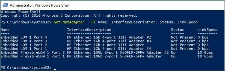 Technical white paper Page 15 Figure 11. PowerShell Cmdlet identifying the number and type of NIC