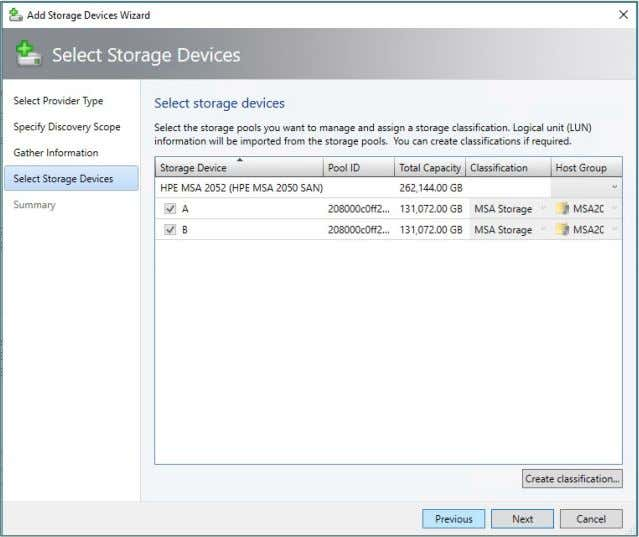 Technical white paper Page 57 Figure 65. Select Storage Devices view The next screen allows you