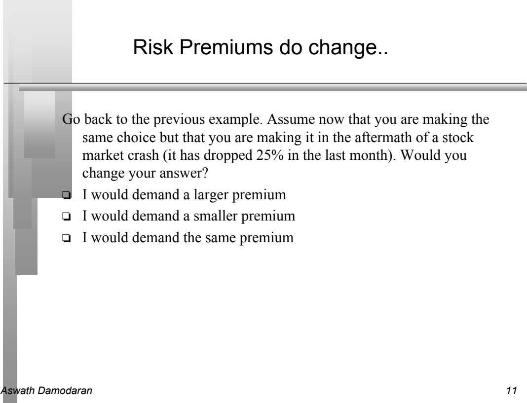 Risk Premiums do change Go back to the previous example. Assume now that you are